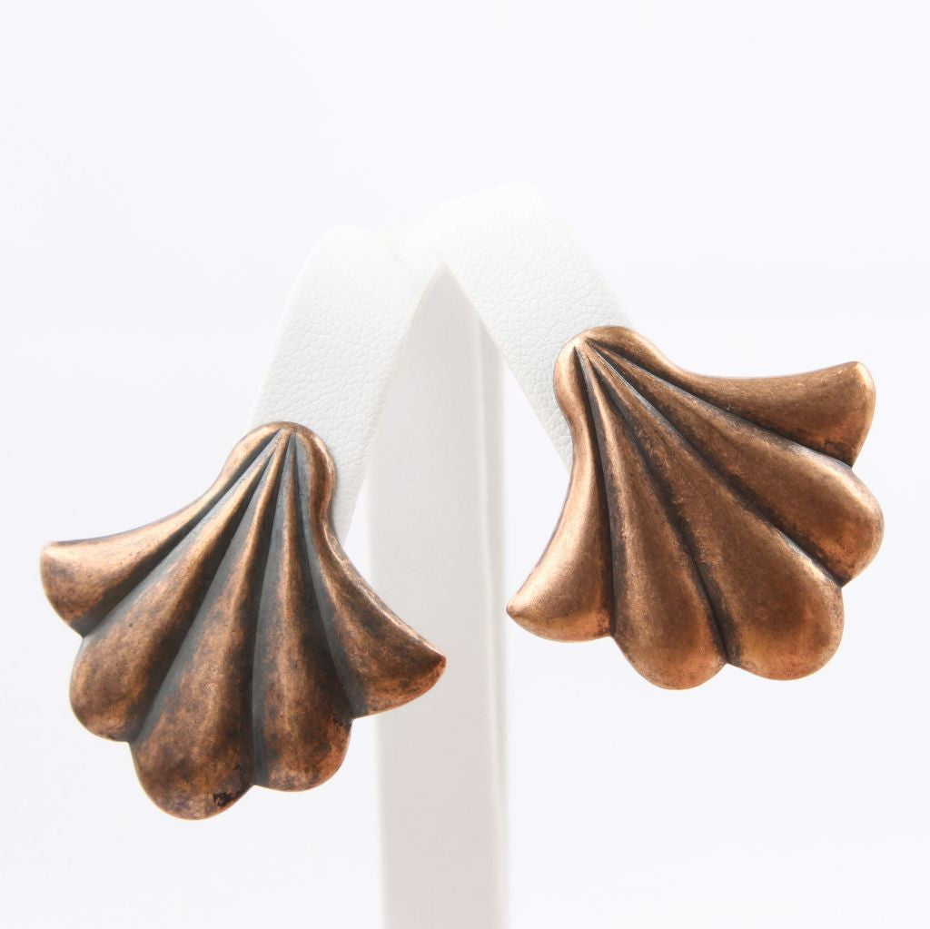 Copper Scallop Shell Clip Earrings - Flotsam from Michigan  - 1