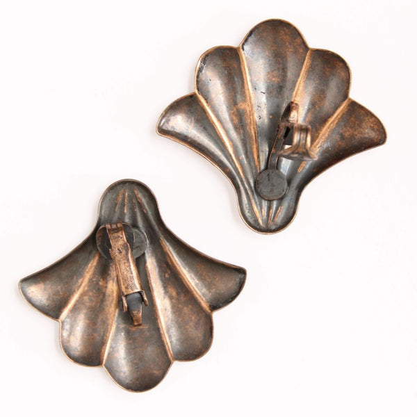 Copper Scallop Shell Clip Earrings - Flotsam from Michigan  - 2