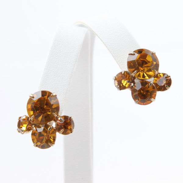 Vintage Coro Yellow Rhinestone Screwback Earrings Signed - Flotsam from Michigan  - 1