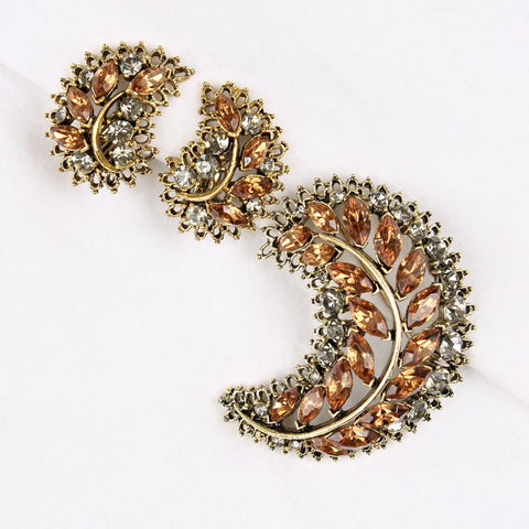 Vintage Rhinestone Crescent Brooch & Earrings Set Fall Colors - Flotsam from Michigan  - 1