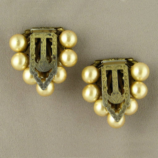 Golden Grapes Imitation Pearl Vintage Dress Clips - Flotsam from Michigan  - 2