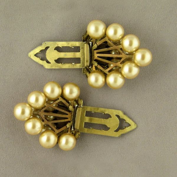 Golden Grapes Imitation Pearl Vintage Dress Clips - Flotsam from Michigan  - 3