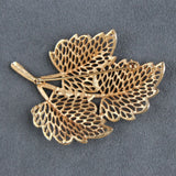 Lacy Openwork Goldtone Leaves Brooch Pin - Flotsam from Michigan  - 2