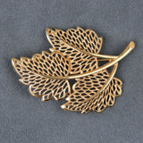 Lacy Openwork Goldtone Leaves Brooch Pin - Flotsam from Michigan  - 1