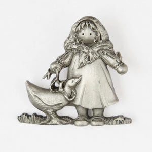 Figural Brooch Pin Little Girl and Goose Pewtertone Signed TM - Flotsam from Michigan - 1