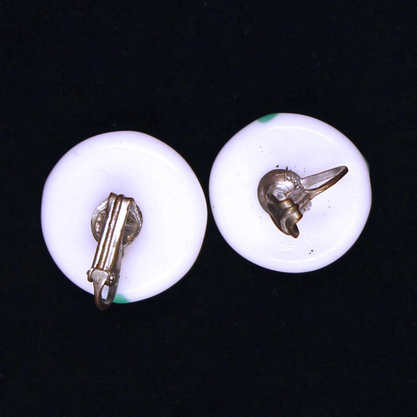 White and Green Glass Button Earrings Backs - Flotsam from Michigan - 2