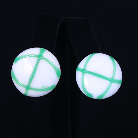 Vintage 1960s Glass Button Clip Earrings White and Green