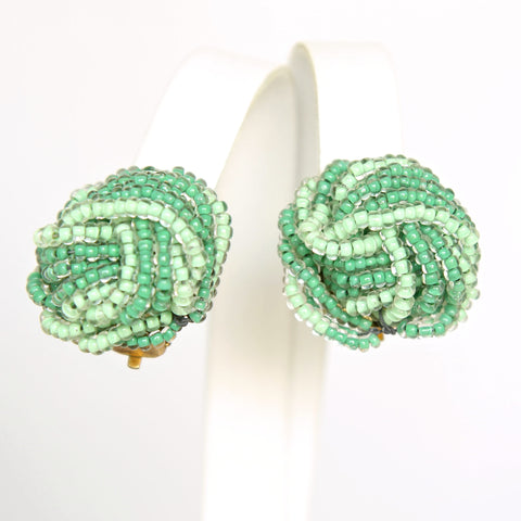 Green Bead Knot Earrings - Flotsam from Michigan - 1