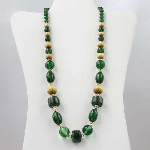 Green Fall Shades Single Strand Bead Necklace - Flotsam from Michigan  - 1