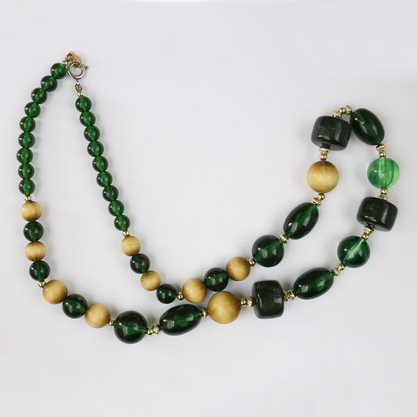 Green Fall Shades Single Strand Bead Necklace - Flotsam from Michigan  - 2