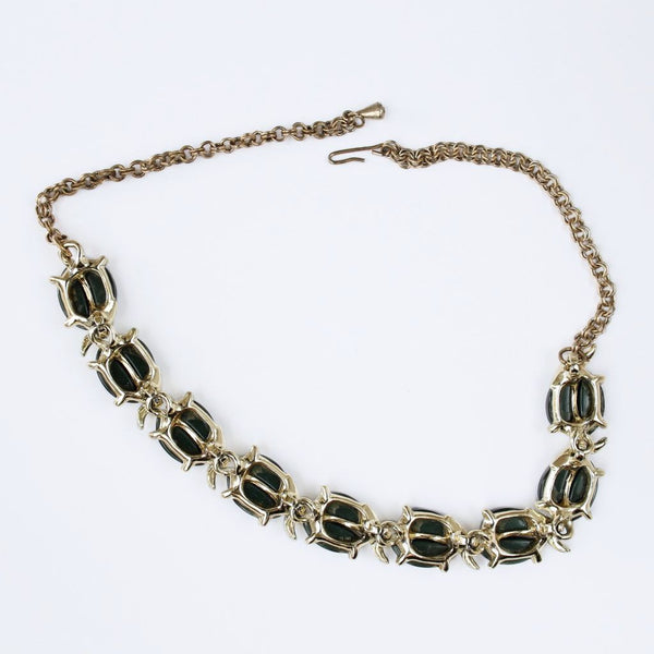 Dark Green Leaves Thermoplastic Link Choker Necklace Vintage Mid-Century - Flotsam from Michigan  - 2