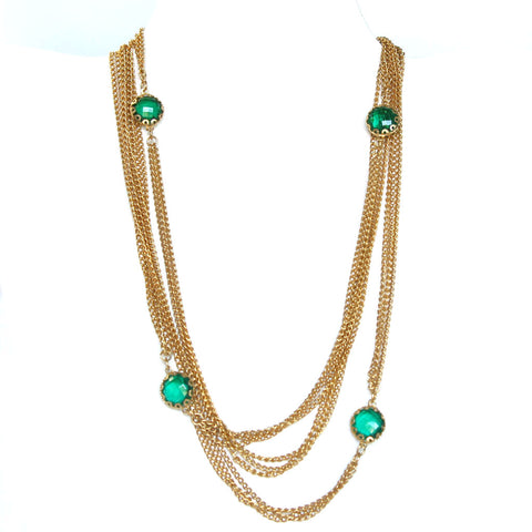 Vintage Long Necklace with Green Stones - Flotsam from Michigan - 1