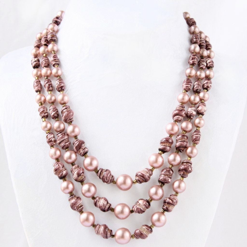 Rose Pink 3-Strand Bead Choker Necklace Hong Kong - Flotsam from Michigan  - 1