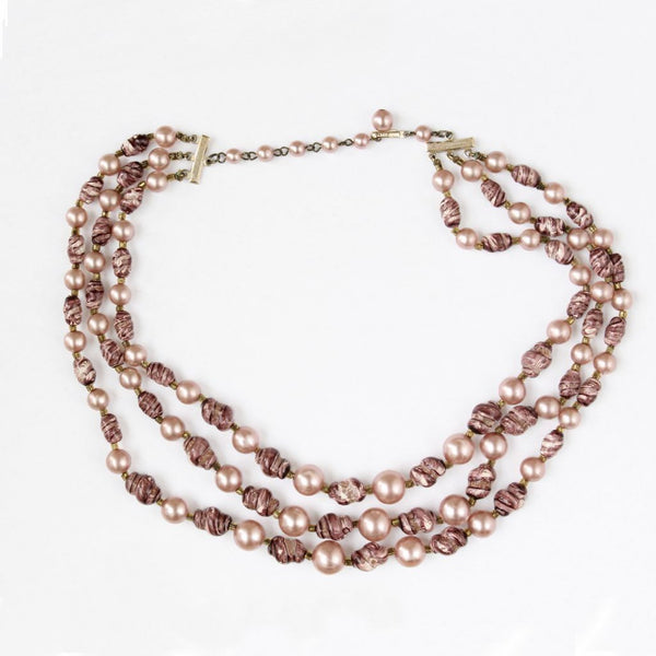 Rose Pink 3-Strand Bead Choker Necklace Back - Flotsam from Michigan - 2