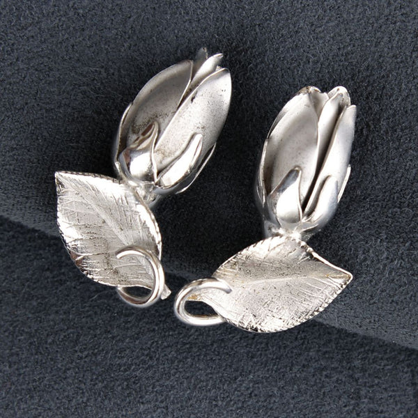 Vintage H. S. Bick Sterling Roses Earrings Closeup - Flotsam from Michigan - 3
