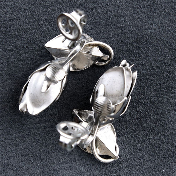Vintage H. S. Bick Sterling Roses Earring Backs - Flotsam from Michigan - 7