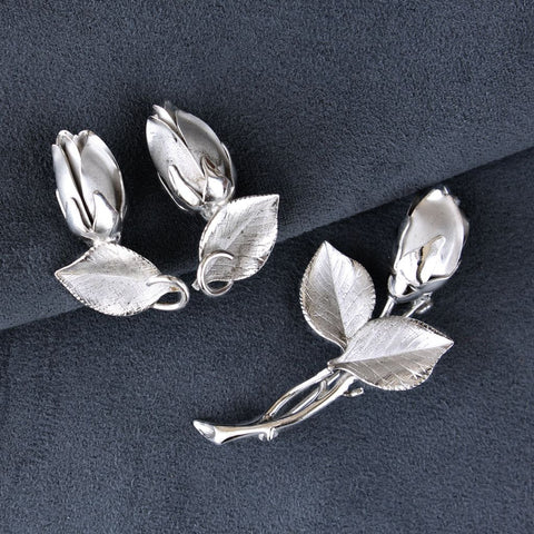 Vintage H. S. Bick Sterling Roses Brooch & Earrings Set