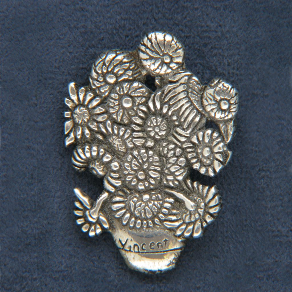 Hand & Hammer Chip deMatteo Van Gogh Sunflowers Sterling Tac Pin - Flotsam from Michigan  - 1