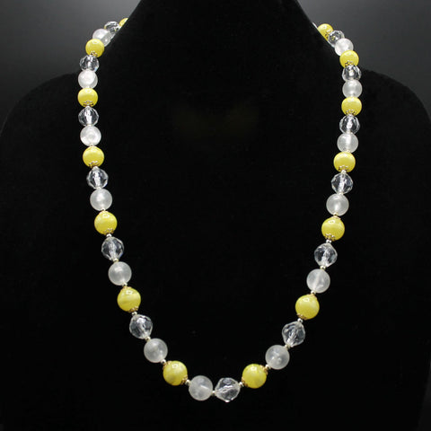 Banded Yellow, Frosted & Clear Acrylic Bead Necklace