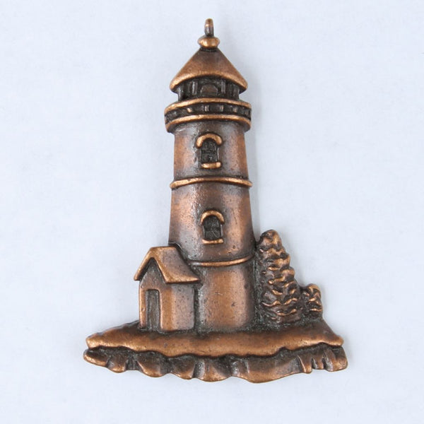 JJ Copper Toned Lighthouse Tac Lapel Pin - Flotsam from Michigan  - 1