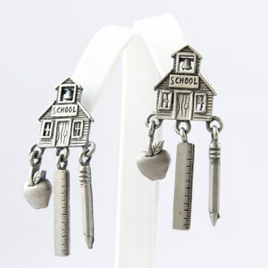 JJ Schoolhouse Drop Dangle Pierced Earrings - Flotsam from Michigan  - 1