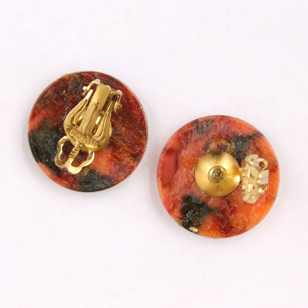 Japan Vintage Russet and Goldtone Acrylic Scribble Clip Earrings - Flotsam from Michigan  - 2