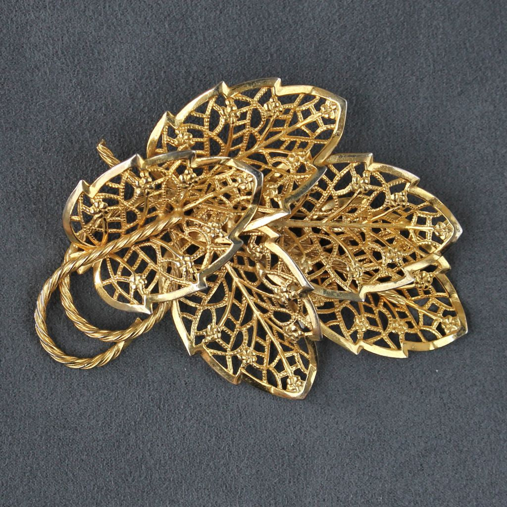 Judy Lee Lacy Openwork Leaves Goldtone Brooch Pin - Flotsam from Michigan  - 1