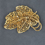 Judy Lee Lacy Openwork Leaves Goldtone Brooch Pin - Flotsam from Michigan  - 2