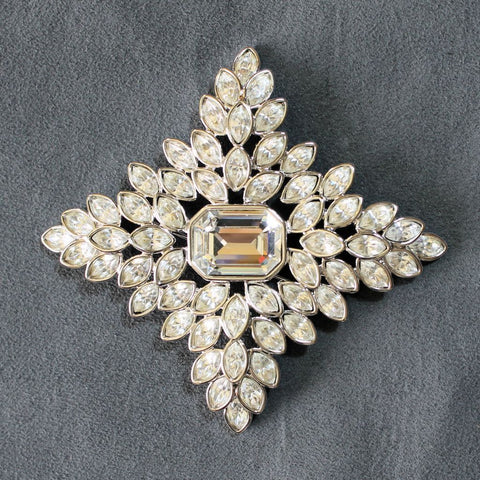 Kenneth Jay Lane Cruciform Rhinestone Brooch Pin