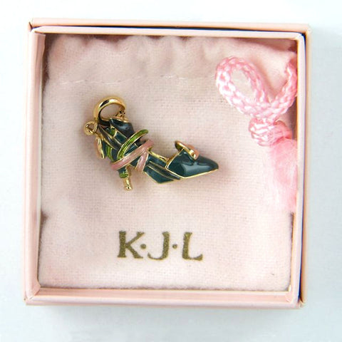Kenneth Jay Lane Enamel Shoe Charm Breast Cancer Awareness