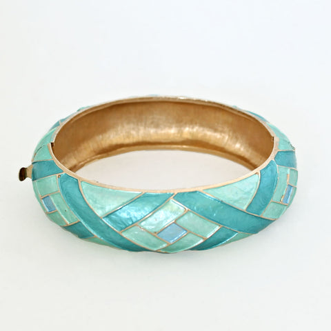 Kramer Aqua Enamel Hinged Bangle Bracelet