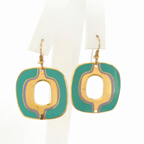 Laurel Burch Abstract Modernist Green Enamel Pierced Earrings