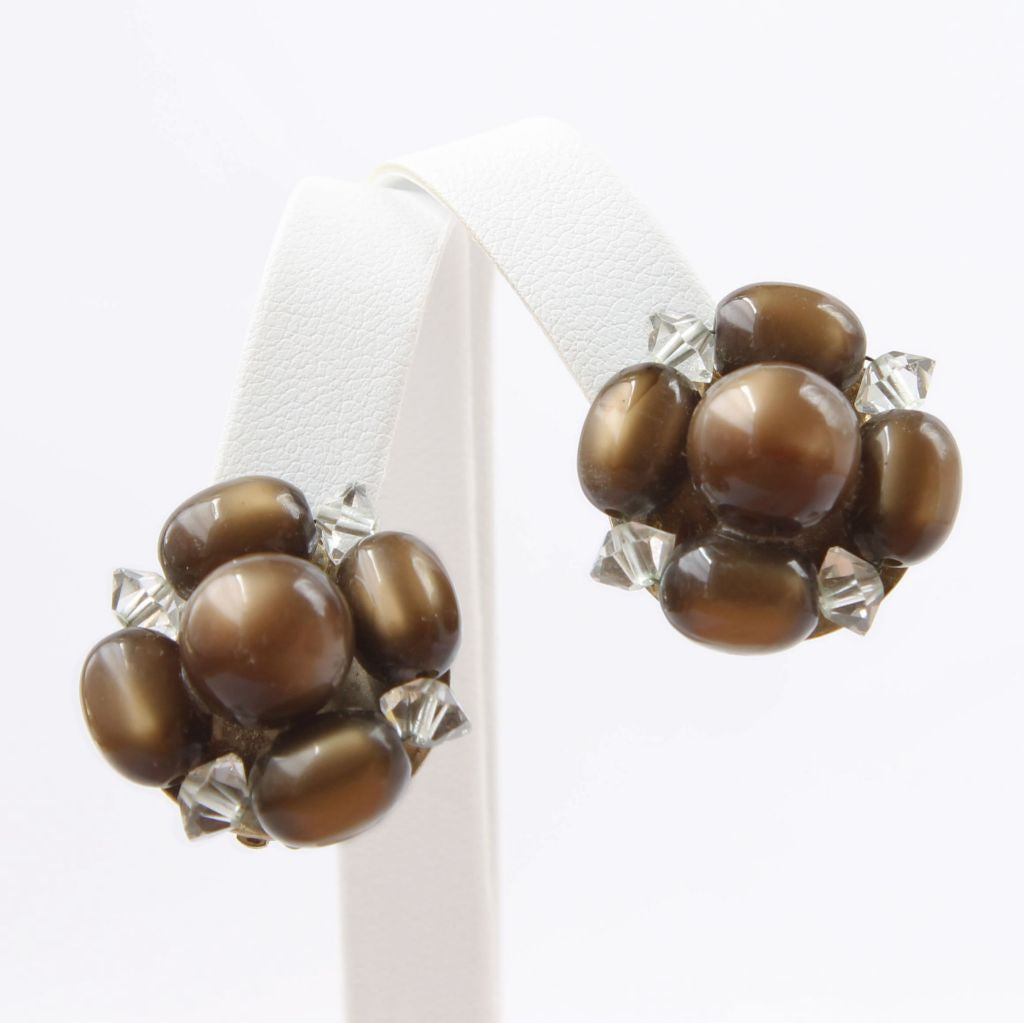 Lisner Brown Moonglow Vintage Cluster Clip Earrings - Flotsam from Michigan  - 1