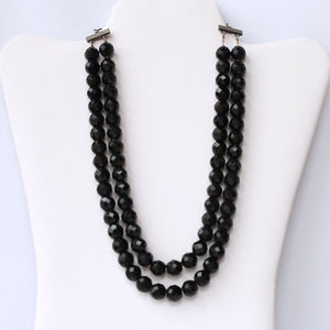 Lisner Black 2-Strand Bead Choker Necklace Mid-Century Vintage - Flotsam from Michigan  - 1