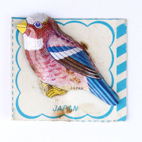 Lithographed Stamped Tin Bird Pin Japan on Original Card - Flotsam from Michigan  - 1
