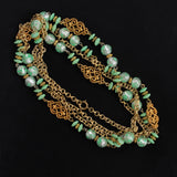 Flapper Length Bead & Chain Necklace Spring Colors 1960s Retro - Flotsam from Michigan  - 2