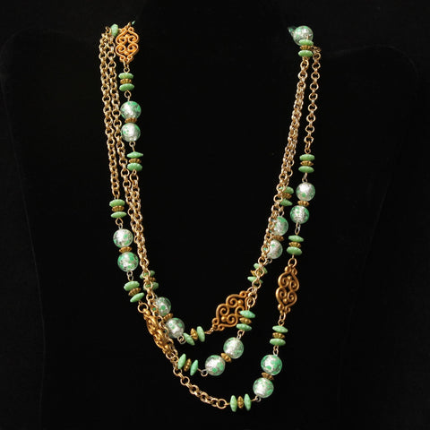 Flapper Length Bead & Chain Necklace Spring Colors 1960s Retro