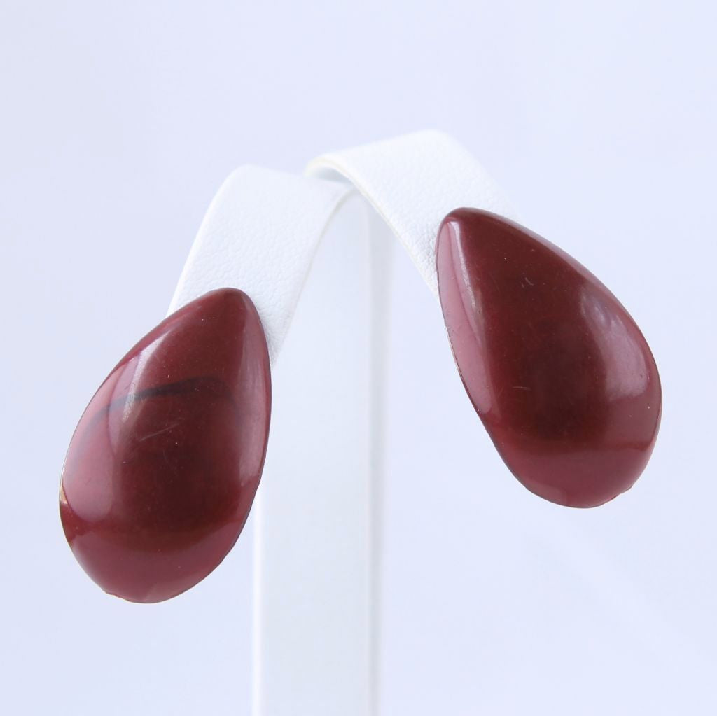 Vintage Screwback Maroon Teardrop Earrings - Flotsam from Michigan  - 1