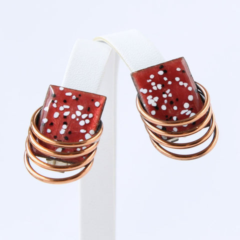Matisse 'Lagoon' Enameled Copper Mid-Century Clip Earrings