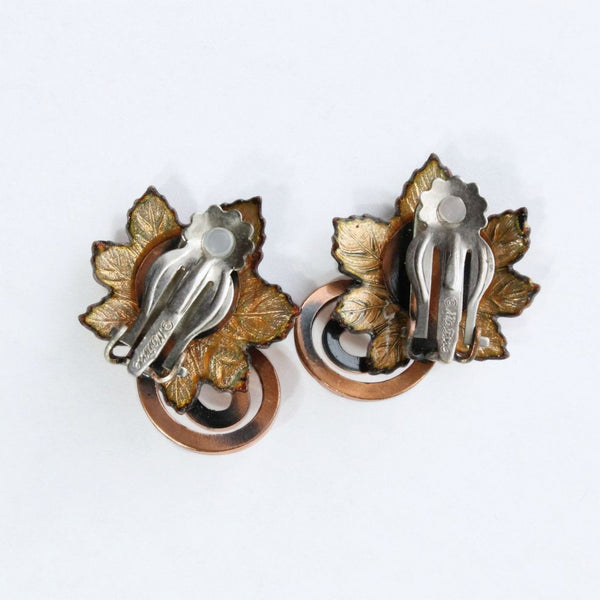 Matisse Leaf Enameled Copper Clip Earrings - Flotsam from Michigan  - 2