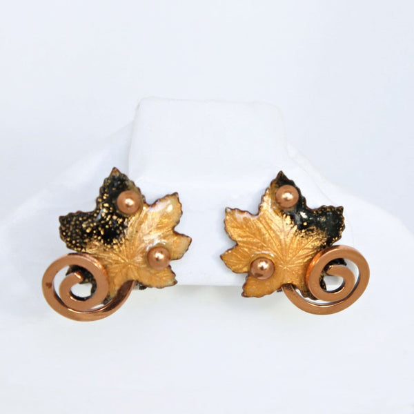 Matisse Leaf Enameled Copper Clip Earrings - Flotsam from Michigan  - 1