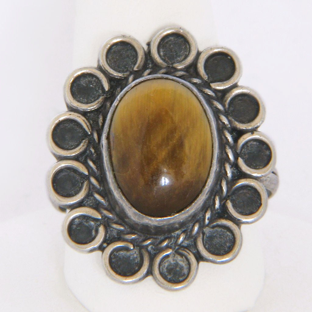 Sterling Silver Tiger's Eye Sunflower Ring Size 7 Mexico Pre-Eagle - Flotsam from Michigan  - 1