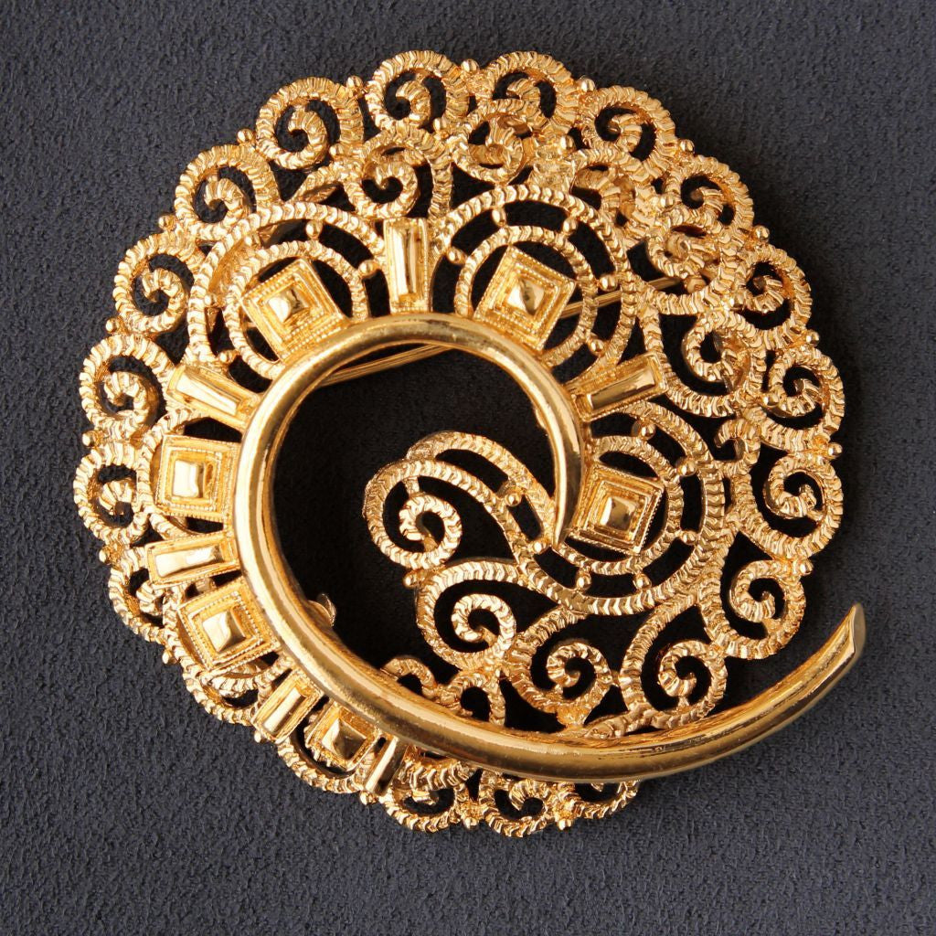 Monet Big Statement Textured Curl Brooch Pin Goldtone Signed - Flotsam from Michigan  - 1