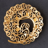 Monet Big Statement Textured Curl Brooch Pin Goldtone Signed - Flotsam from Michigan  - 2