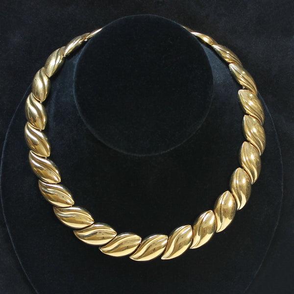 Napier Tailored Leaves Goldtone Choker Necklace - Flotsam from Michigan  - 1