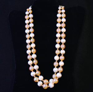 Peach Satin Bead Necklace - Flotsam from Michigan - 1