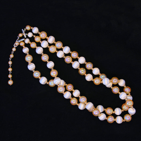 Peach Satin Bead Necklace Whole - Flotsam from Michigan - 2