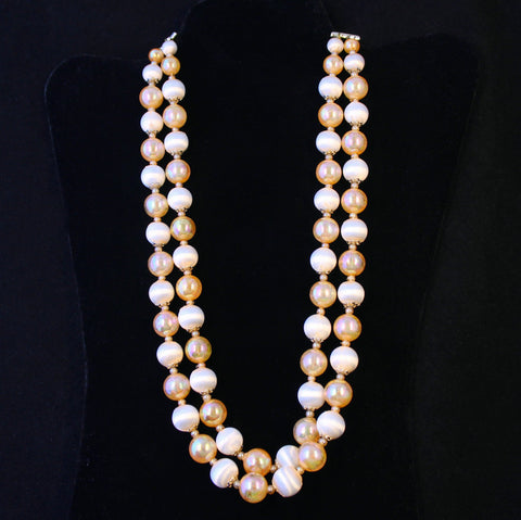 Peach Satin 2-Strand Bead Necklace Japan Vintage