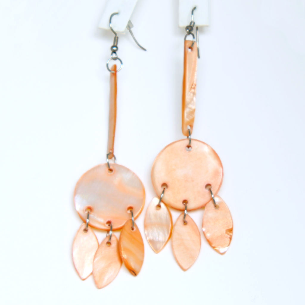 Peach Dyed Mother of Pearl Long Dangle Pierced Earrings - Flotsam from Michigan  - 1