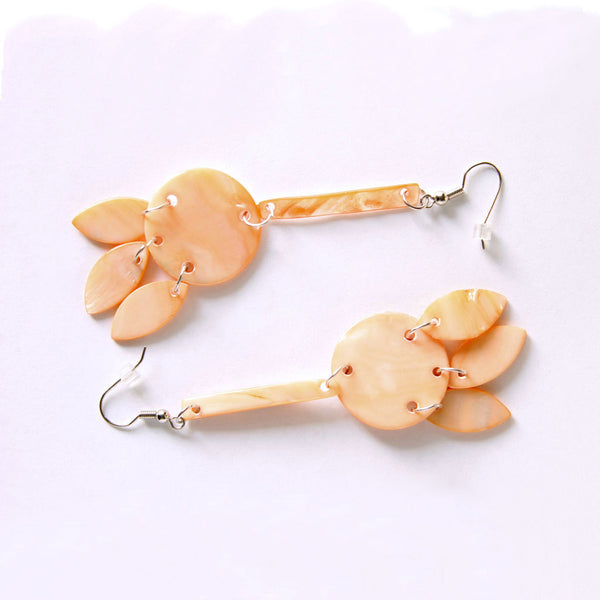 Peach Dyed Mother of Pearl Long Dangle Pierced Earrings - Flotsam from Michigan  - 2